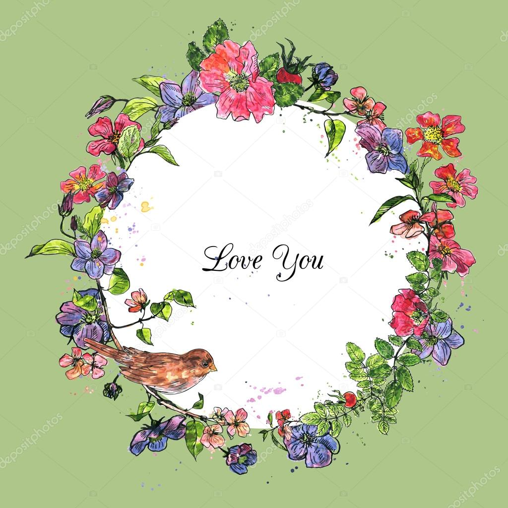 watercolor vector floral frame with bird