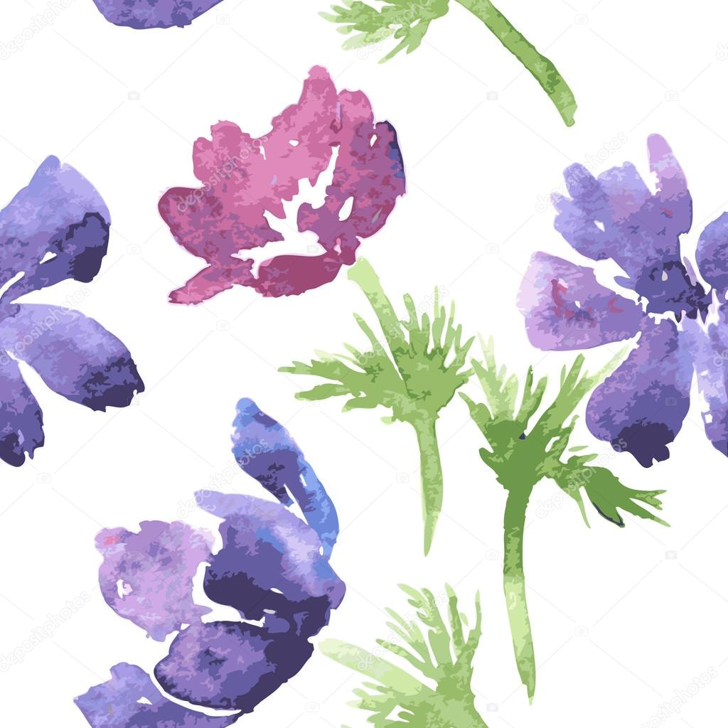 seamless pattern with watercolor drawing flowers