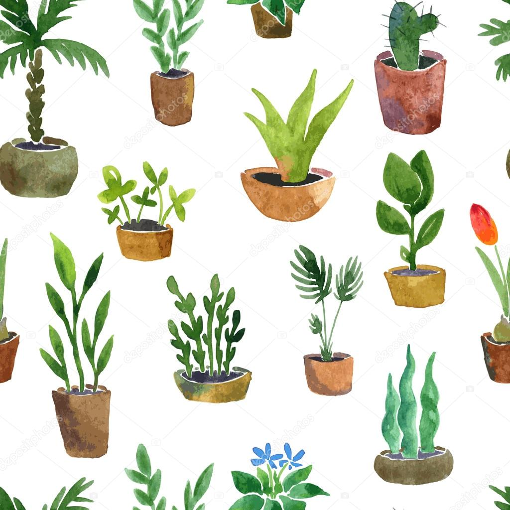 seamless pattern with home plants