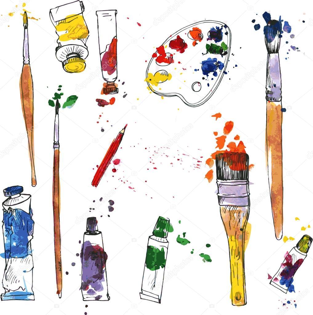 Ensemble de mat riel artistique image vectorielle cat for Materiel de peinture maison