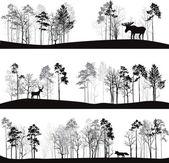 sada různých krajin se stromy a zvířata