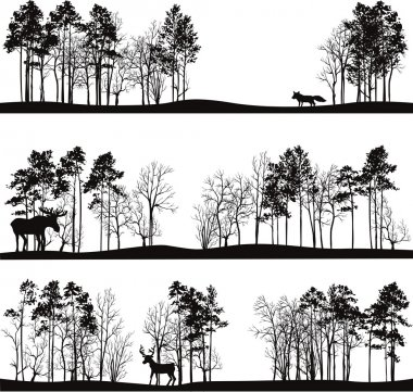 set of different landscapes with trees and animals