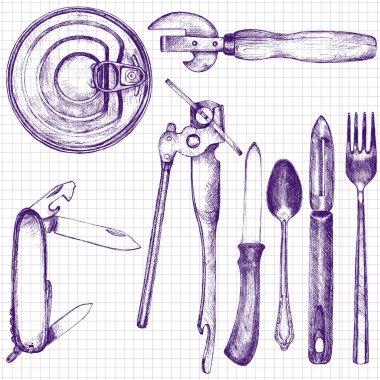 set of different kitchen utensil