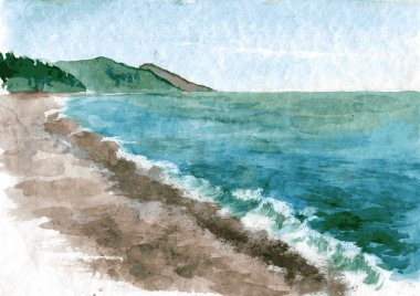 watercolor coast of sea
