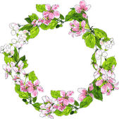 Fotografie round wreath with spring tree flowers