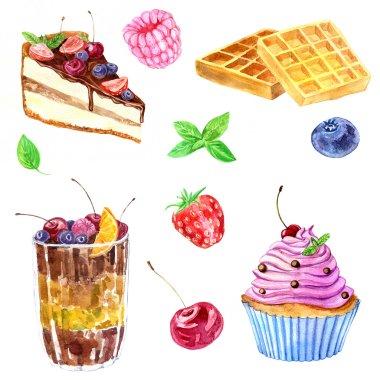 watercolor dessert with berries