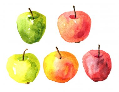 Set of  watercolor drawing apples