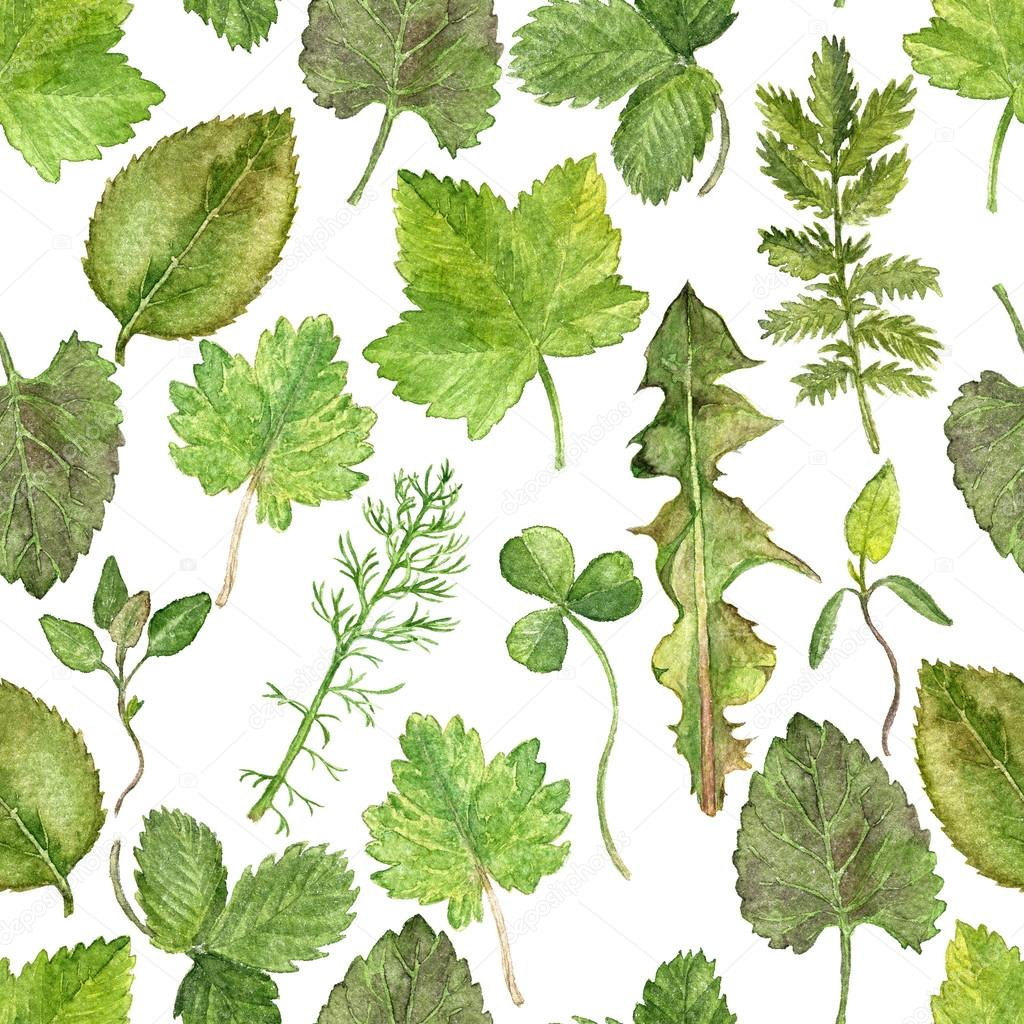 Seamless pattern with watercolor drawing leaves