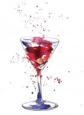 Cocktail glass with cherry