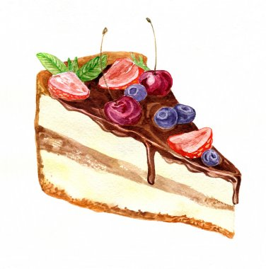 watercolor piece of chocolate cake