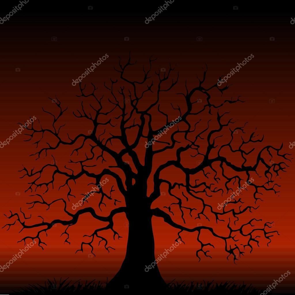 дерево без листьев силуэт — Векторное изображение © cat ...