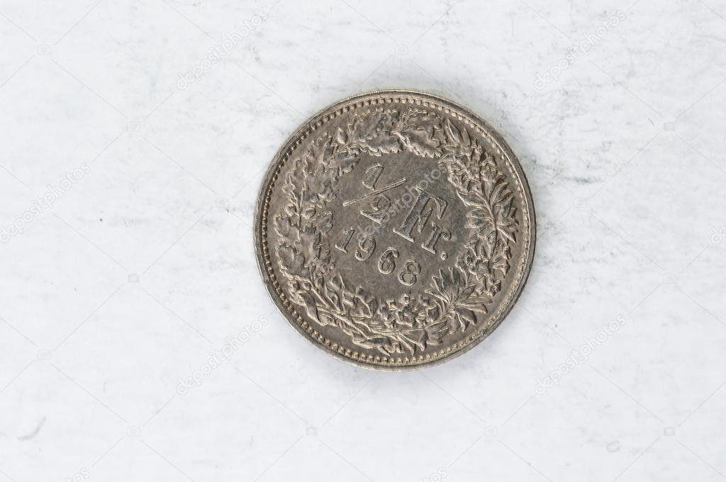 12 Schweiz Franken Münze 1987 Silber Stockfoto Weltreisendertj