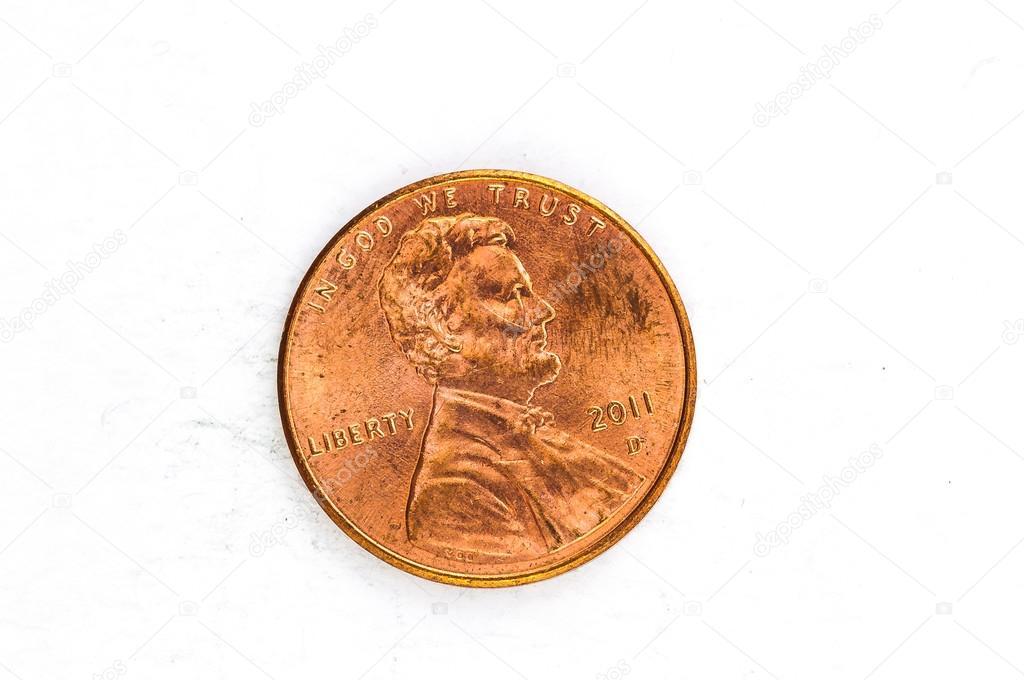 1 Us Cent Münze Kupfer In Gott Dem Wir Vertrauen Stockfoto