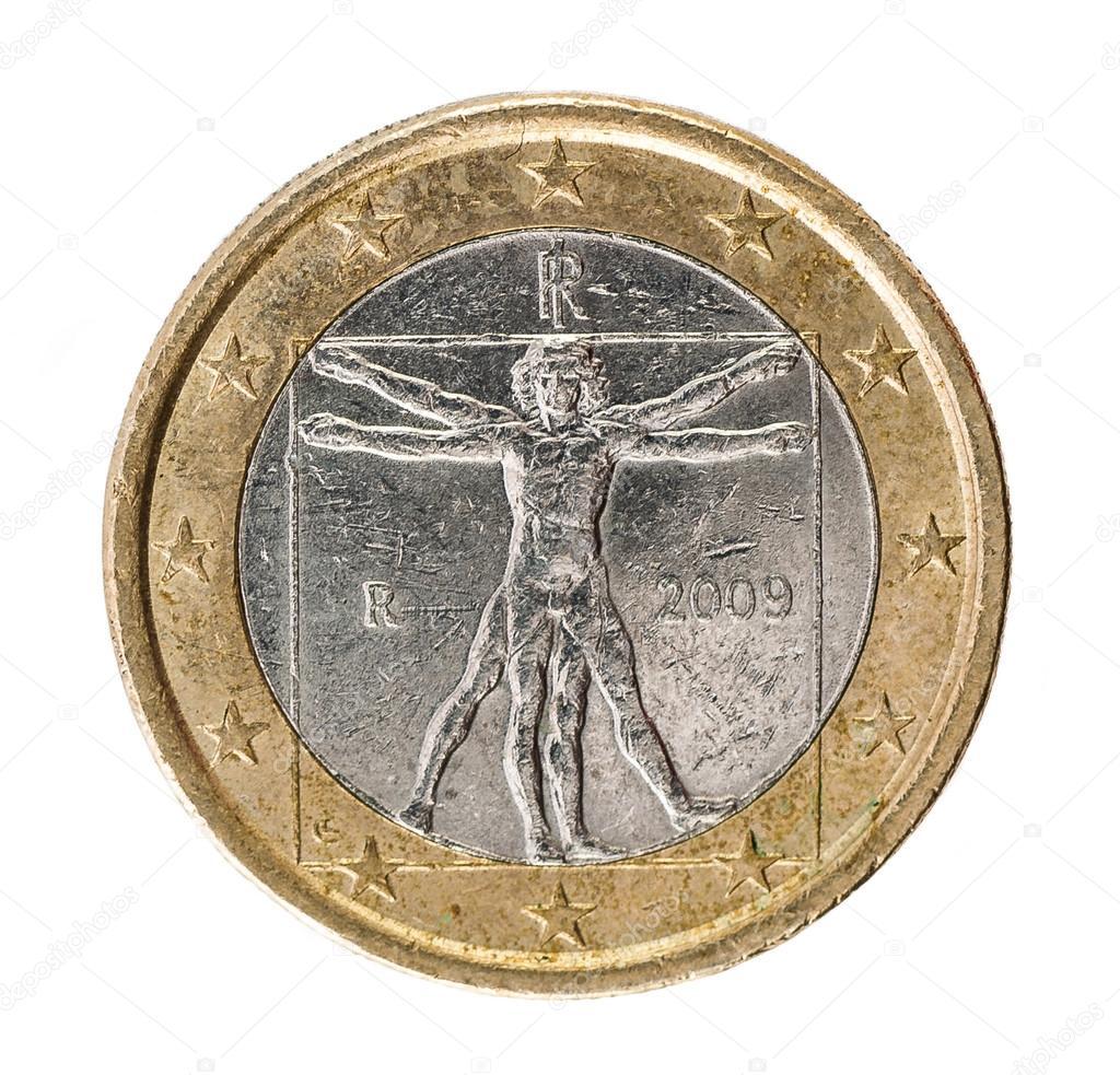 Ein Euro Münze Rückseite Auf Weißem Hintergrund Stockfoto