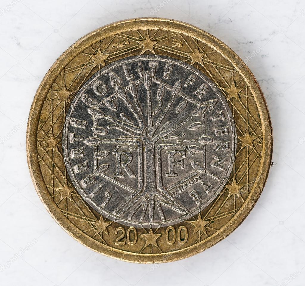 1 Euro Münze Mit Französischen Rückseite Verwendet Look Stockfoto