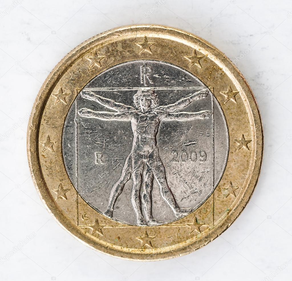 1 Euro Münze Mit Italienischen Rückseite Verwendet Look Stockfoto
