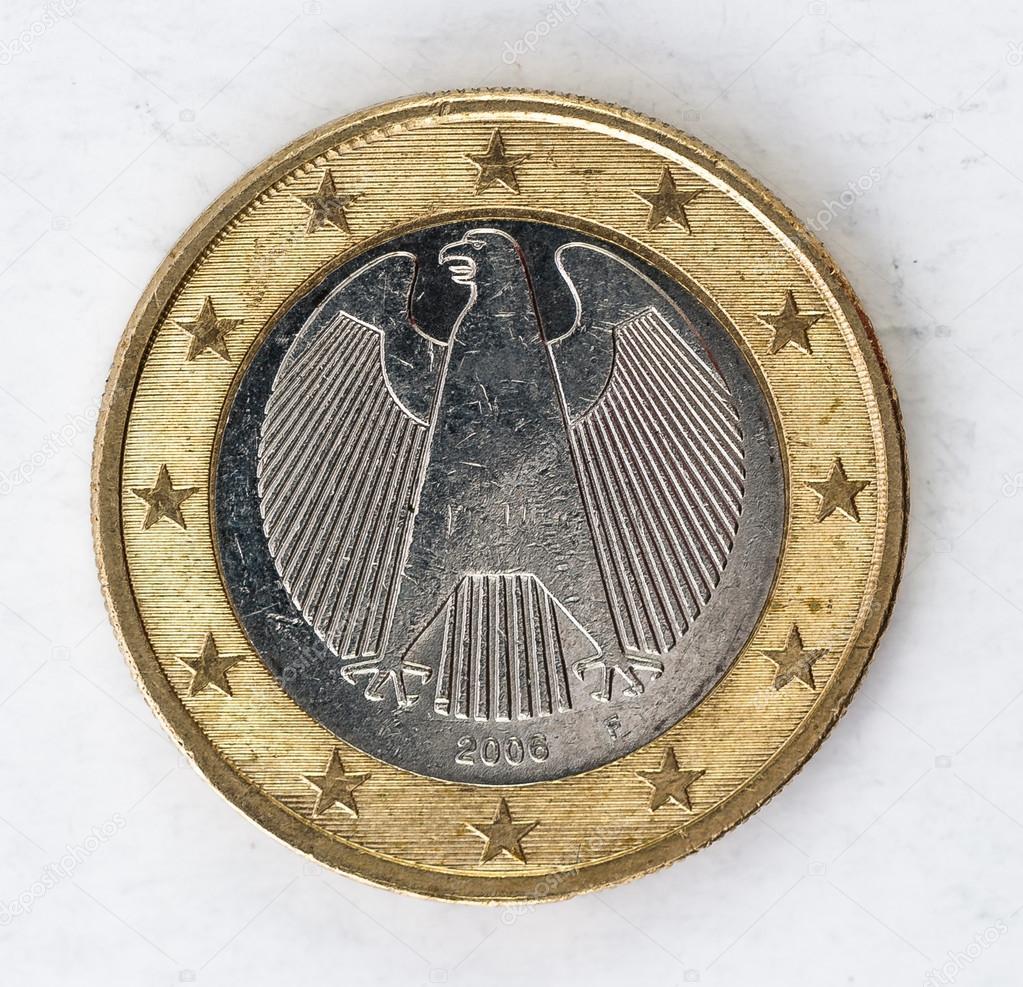 1 Euro Münze Mit Deutschen Rückseite Verwendet Look Stockfoto