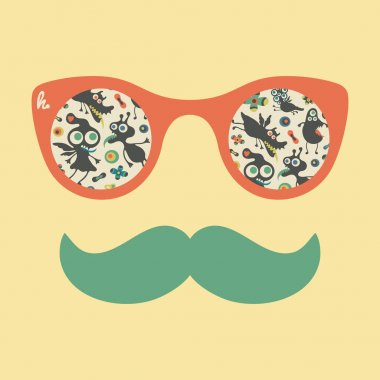 Hipster vintage sunglasses with colorful happy monsters.