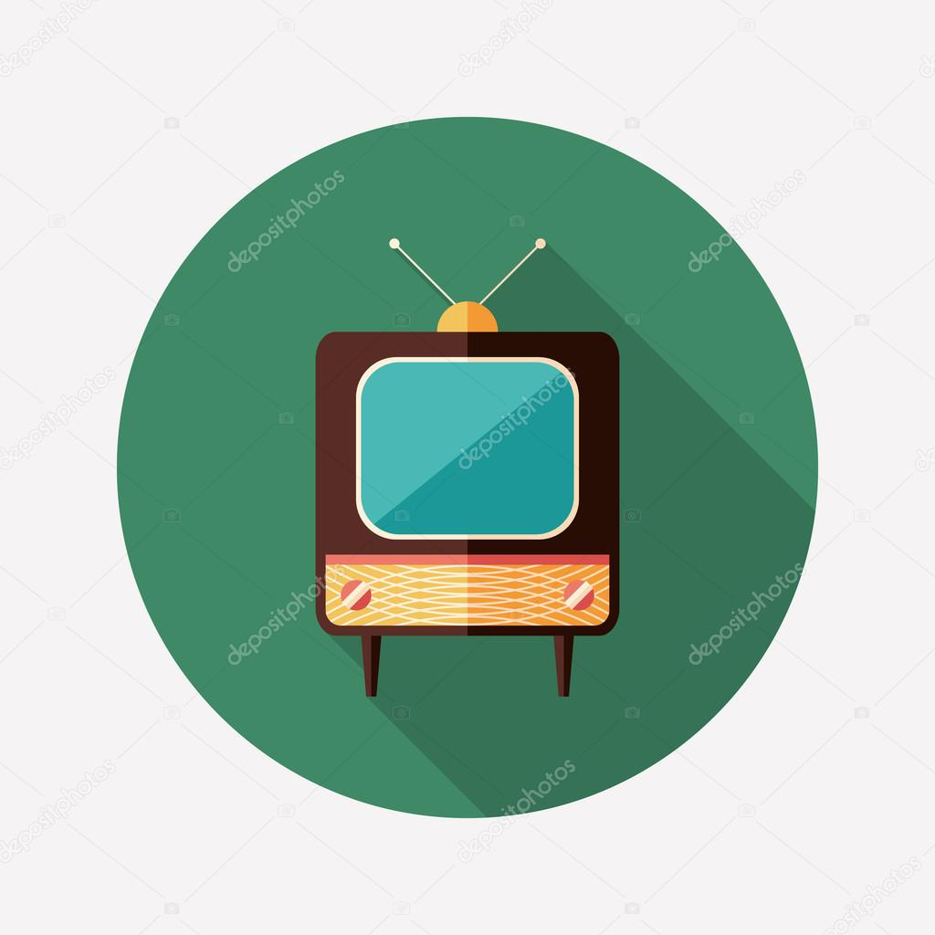Retro TV flat round icon with long shadows.