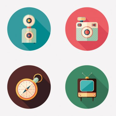 Retro cameras with clock and TV flat round icons.