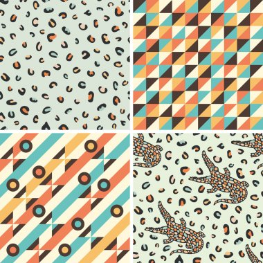 Set of seamless patterns with geometric shapes and crocodiles.