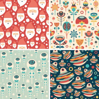 Set of seamless patterns with Santa and Christmas flowers.