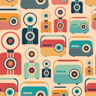 Seamless pattern with colorful retro radios and cameras.