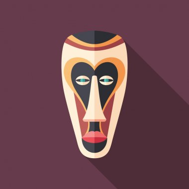 Colorful African mask flat square icon with long shadows.