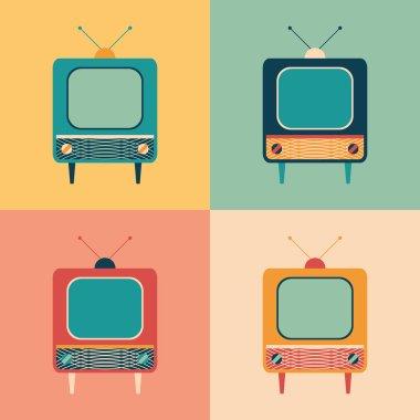 Colorful set of retro TVs.