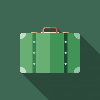 Retro suitcase flat square icon with long shadows.