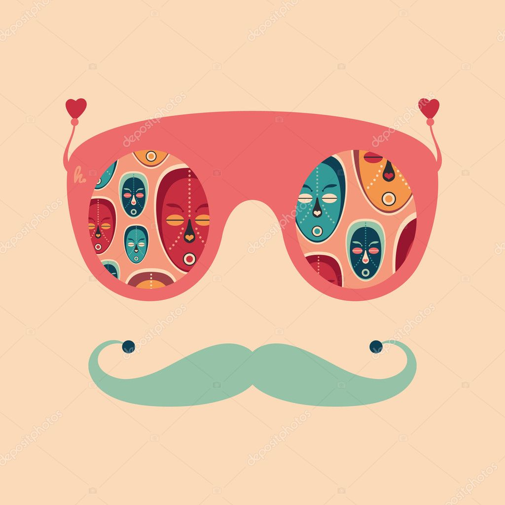 Óculos de sol colorido hipster — Vetor de Stock © Yury Velikanov ... 0c11de0dd9
