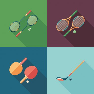 Team sports flat square icons with long shadows.