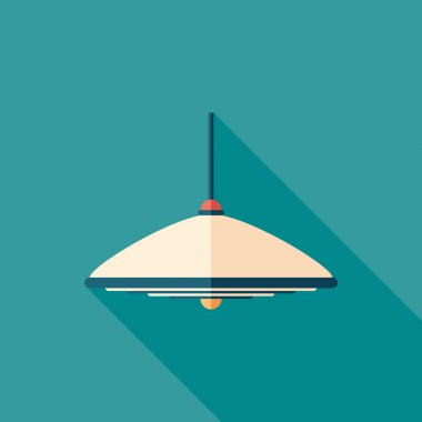Pendant lamp flat square icon with long shadows.