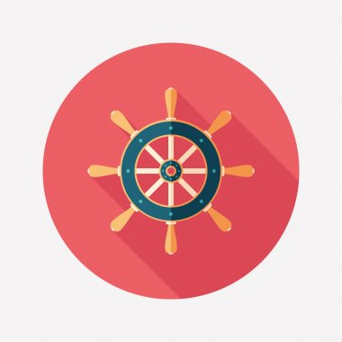 Retro steering wheel flat round icon with long shadows.