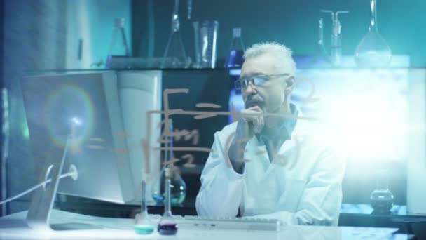 Exhausted Scientist is Thinking in Laboratory.