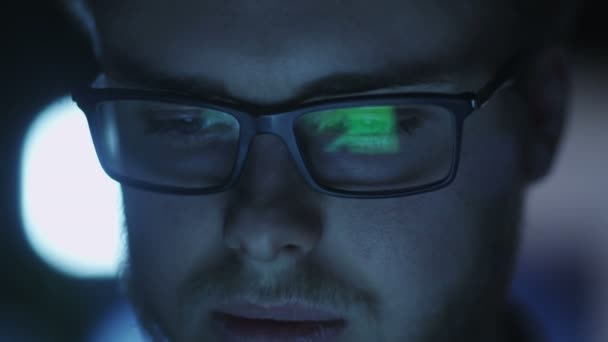 Computer Screen Reflection in Programmers Glasses Evening