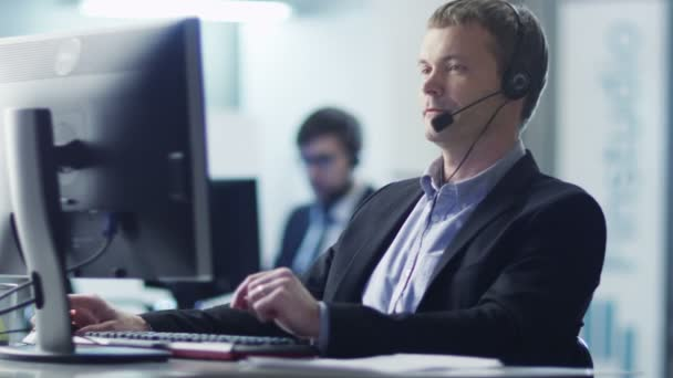 Customer Service Operator at Work in Call Center