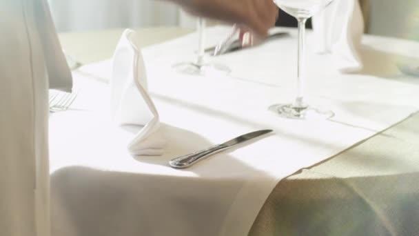 Setting Dinner Table in Luxury Restaurant.