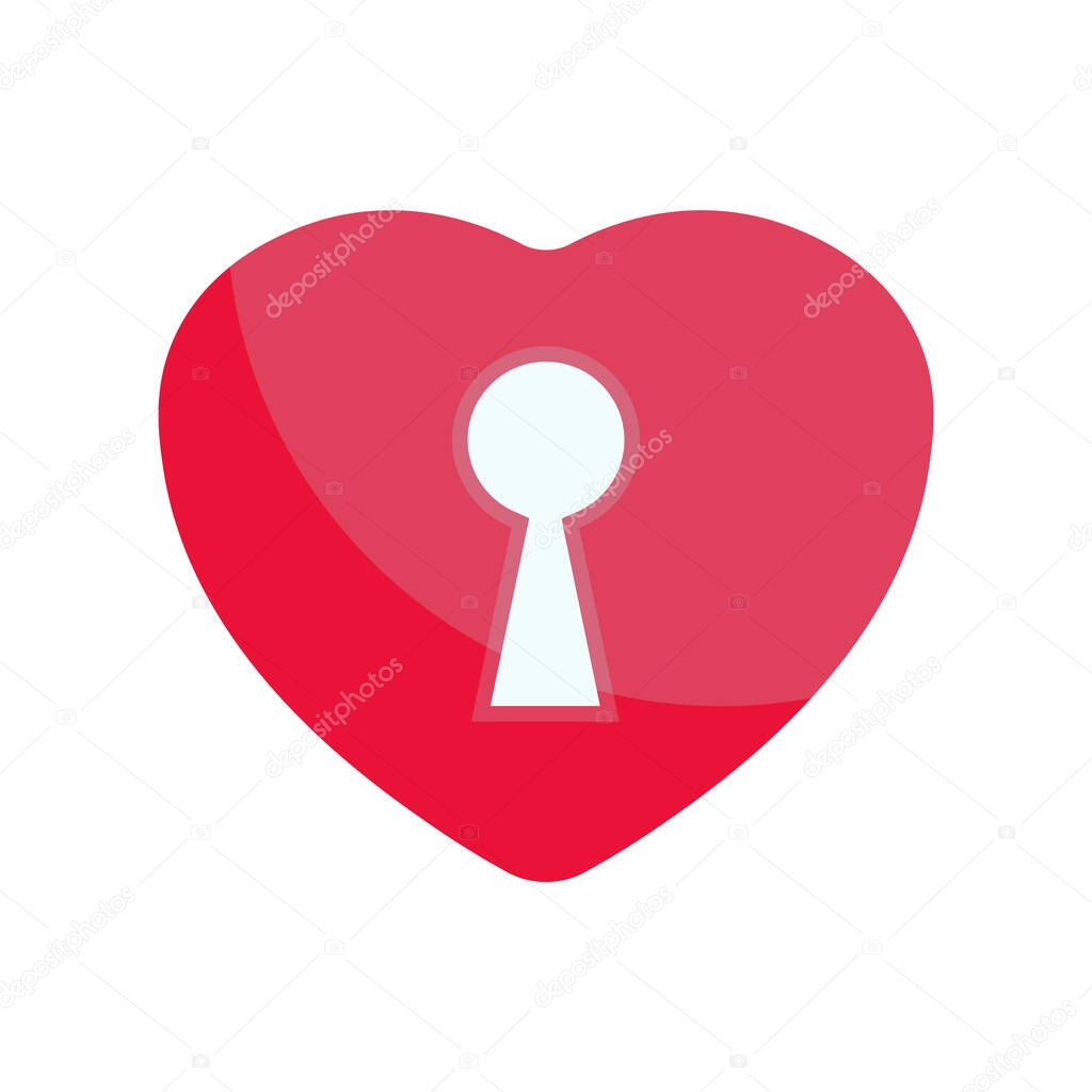 Red heart lock simple vector sign icon