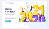 Koncept designu přistávací stránky Šťastný nový rok. Lidé se připravují na nový rok 2021 změnou dopisu roku. Plochá vektorová ilustrace