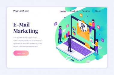 Isometric landing page design concept of Email marketing, mailing services with people work near a giant laptop. vector illustration icon