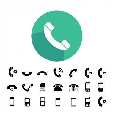 Vector basic  phone icon set clip art vector