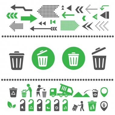 recycling bins and arrows icons