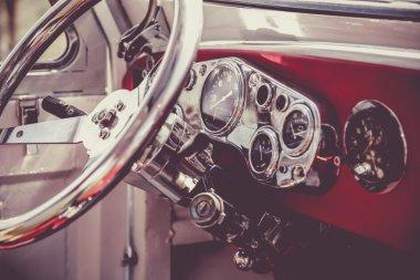 Interior of old vintage car. Vintage effect processing