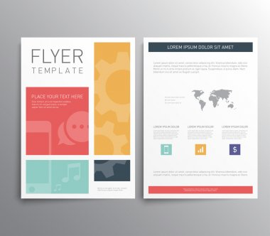 Abstract flyer or brochure design templates with flat style. Clean and modern stock vector