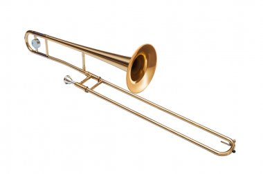 golden brass tenor trombone isolated on white background