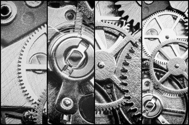 collage with clockwork, gears and cogwheels in vintage style