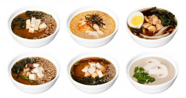 Set of bowls with asian soups