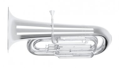 Silver tuba in hard light