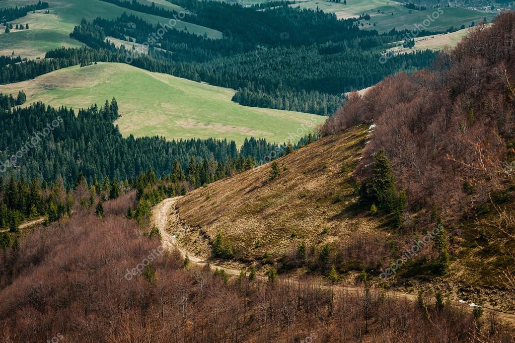 mountain landscape view with dirt road